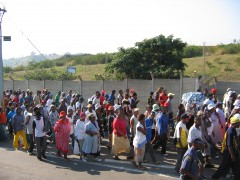 Protest Against Councillor Baig, 2005. Courtesy: Abahlali baseMjondolo.