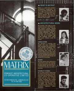 Matrix: a leaflet describing the work of Matrix, for client organisations—back cover. Courtesy: Julia Dwyer