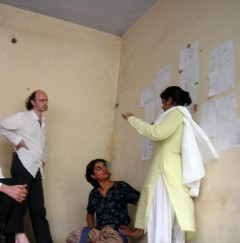 Presentation of drawings and scenarios for the Cybermohalla Hub (Delhi, 2007). Photo: Nikolaus Hirsch / Michel Müller