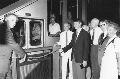 Opening of the water balanced cliff railway (1992). Courtesy: CAT