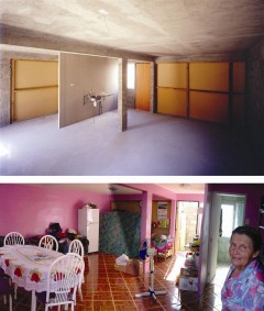 Iquique Housing interior at handover and after. Photo: Taduez Jalocha