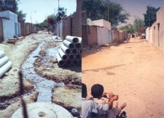A street in Orangi before and after construction of sewers. Courtesy: OPP-RTI