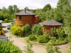 Cluster of barrel houses at The Park, Findhorn. Photo: Findhorn Foundation