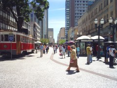 Main pedestrian thoroughfare, Curitiba. Photo: Lee Pruett