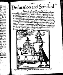 Woodcut of 'The declaration and standard of the levellers of England' (1649) by William Everard
