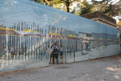 Border Fence: a photographic reproduction of the US - Mexico border fence, produced by Estudio Teddy Cruz for the 11th Architecture Biennale in Venice. Photo: Lisbet Harboe