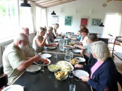 Communal meal at Drejerbanken, Denmark. Photo: William Sherlaw