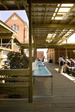 Outdoor spaces are an integral part of the design of the St Joseph ReBuild Center. Courtesy: DCDC